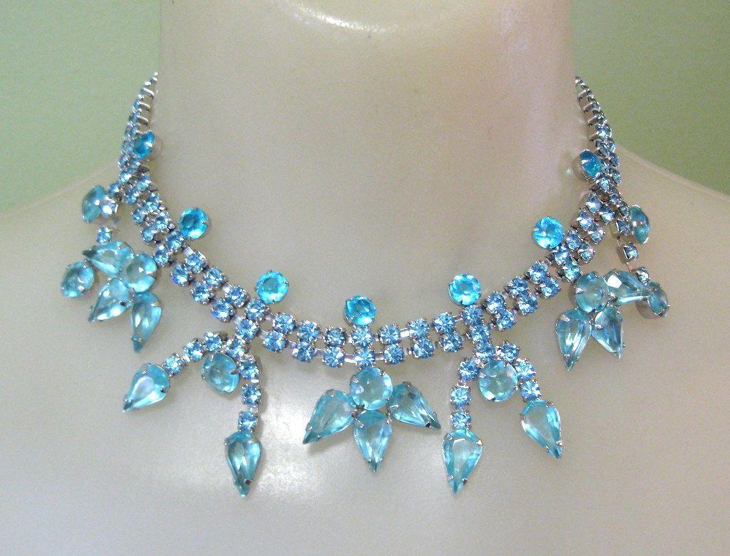 40's Rhinestone Festoon Necklace & Earrings, Aqua Demi