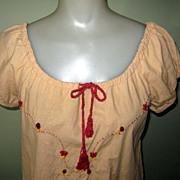 Vintage Designer Peasant Blouse, Embroidered