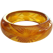Prystal Bakelite Bracelet, Art Deco Reverse Carved Apple Juice
