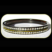 Art Deco Rhinestone Bracelet, Early Plastic, Etched and Painted