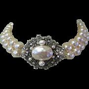 Miriam Haskell Faux Baroque Pearl 2 Strand Necklace, Rhinestone  & Filigree