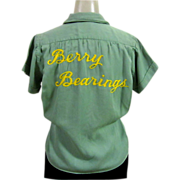 Vintage Bowling Shirt, Women's, 1940's Berry Bearings