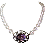 Art Deco Rock Crystal Necklace, Sterling & Marcasite, Germany