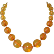 Natural Amber Bead Necklace, Art Deco, 1920's