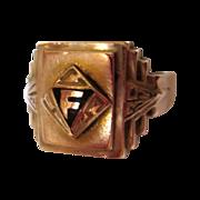 Art Deco Ring, Gold over Sterling, 1939, Handsome