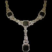 Edwardian Sterling Necklace, Onyx & Marcasite, Fancy Chain