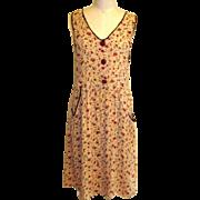 Print Dress 80's Floral Festival Grunge, Vintage
