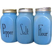 McKee Blue Salt & Pepper & Flour Range Shakers, Vintage
