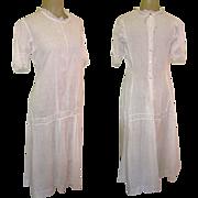 Edwardian Tea Dress, White Cotton, Lace, Garden Party Pretty