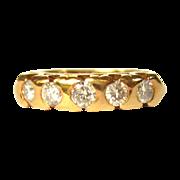 Diamond Ring, 18K, Vintage 5 Stone Band