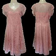 Party Dress, Lace & Rhinestones, Vintage 40's