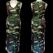 Vintage Camouflage Dress, Shiny Knit, Full Length Formal