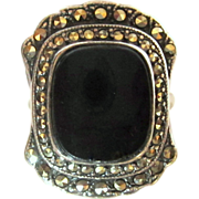 Art Deco Sterling Ring, Marcasite Halo & Onyx