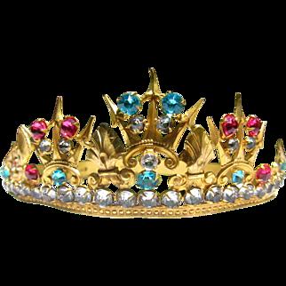 Antique 19th Century French Ormolu Crown / Tiara, Paste Stones