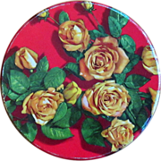 Large Vintage Tin, Red with Yellow Flowers / Roses
