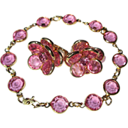 Crystal Bracelet & Earrings, Pink Bezel Set, Rhinestone Demi