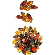 D & E Juliana Rhinestone Brooch & Earrings, Neon Autumn