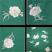Vintage Tablecloth & 6 Napkins, Green Floral