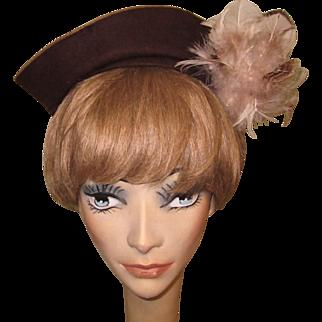 1930's Hat, Ostrich Feather, Vintage Vixen