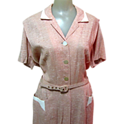 50's Silk Dress, Vintage Dressy Office, Large