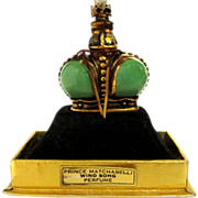 Vintage Wind Song Prince Matchabelli, Green Crown Perfume Bottle, 1953
