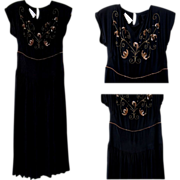 Vintage Beaded Dress, 1940's Cocktail Dress
