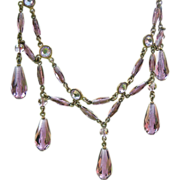 Victorian Crystal Festoon Necklace, Lavender Art Glass Drops