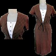50's Wiggle Dress, Vintage Sailor Plaid