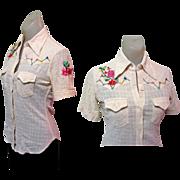 Embroidered Rockabilly Shirt, Womens Gauze 60's