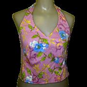 Halter Top, Fitted Lavender Floral, Designer 80's