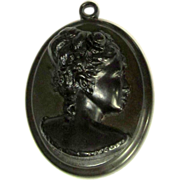 Whitby Jet Cameo Pendant, Victorian Mourning
