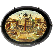 Micro Mosaic Brooch St. Peters, Italian Victorian, Grand Tour
