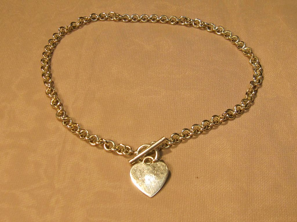 Vintage Sterling Rolo Necklace with Toggle Clasp & Heart Tag