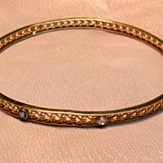 Vintage Filigree Heart Bangle Bracelet with Old Mine Cut Diamond