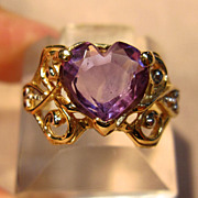 Intricately Detailed Amethyst Ring in 14K Gold