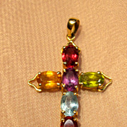 14K Muti Gemstones Cross Pendant