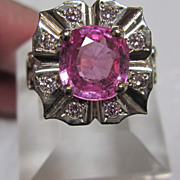 14K Pink Synthetic Chrysoberyl Ring