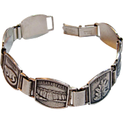 "Vintage Panel Link Souvenir  ""American and Canadian Falls"" Bracelet in Sterling Silver"