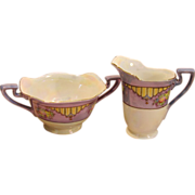 Elegant Vintage Lusterware Sugar & Creamer by Noritake Japan Circa 1918-1920's