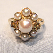 Breathtaking Vintage Pearl Ring in 10K Yellow Gold
