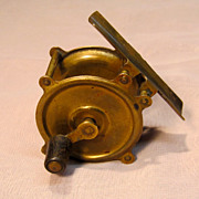 Vintage Red Brass Small Fishing Reel