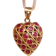 Vintage Reversible Rubies & Sapphires Heart Pendant in 14K Yellow Gold