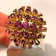 14K Impressive Garnet Dome Style Ring