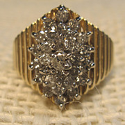 Stunning Vintage Cluster Diamond Ring in 10K Yellow Gold