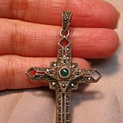 Dainty Art Deco Design Cross Pendant in Sterling Silver