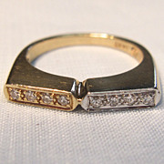 Lovely & Unique Two-Tone Diamond Ring in 14K Yellow Gold
