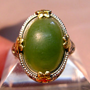 Vintage 14K Yellow Gold Jade Filigree Ring