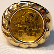 Vintage Pure Gold 1989 Panda Coin Ring