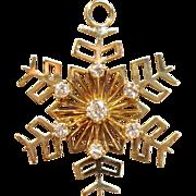 Timeless Diamond Snowflake Pendant in 14K Yellow Gold