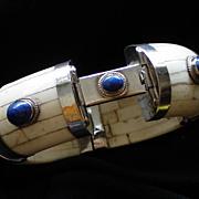 4-Part Vintage Bone, Lapis Lazuli, & Silver Bracelet